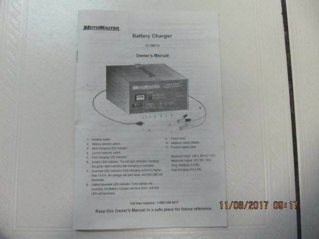 motomaster automatic battery charger instructions